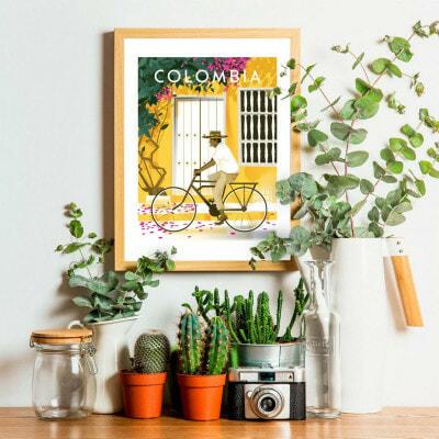 Affiche Colombie Caraïbes illustration décoration