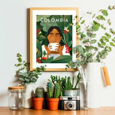 affiche café colombie cadre décoration